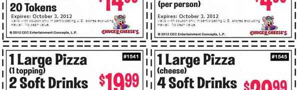 Chuck E Cheese Coupons 2012, September