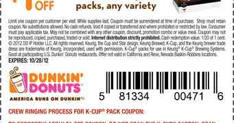 Printable Coupon - Dunkin Donuts K-Cups