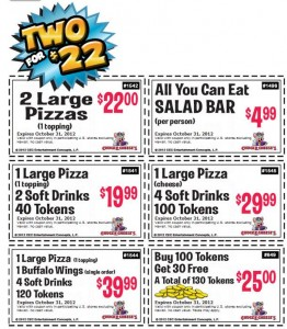 October Chuck E Cheese Sheet of Coupons