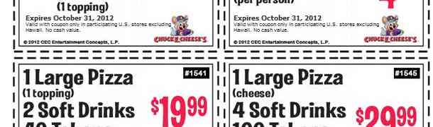 Chuck E Cheese Deals Expiring Oct 31