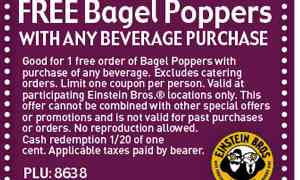 Free Bagel Poppers at Einstein Bros