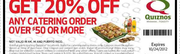 Quizno's Catering Coupon