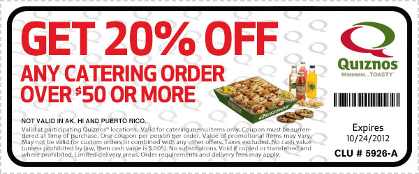 picture regarding Quizno Printable Coupons titled Quiznos Catering Coupon Less expensive Eater