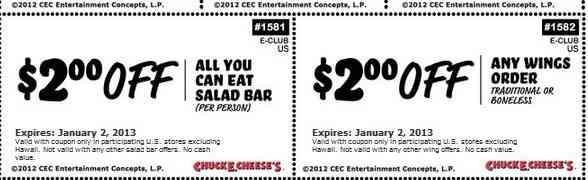Chuck E Cheese Printable Coupon Sheet - 2012/2013