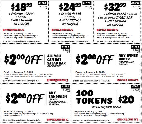 Chuck e Cheese Coupons Look Like