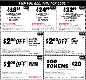 Chuck E Cheese Coupons January 2013