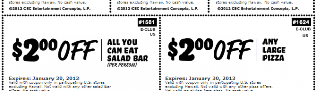 Chuck E Cheese Coupons 2013