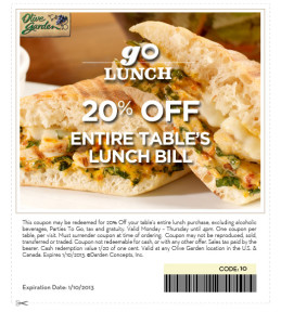 Olive Graden 20% off  Entire Bill Coupon Expires January 10 2013