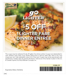 Olive Graden Lighter Fare Coupon Expires January 10 2013