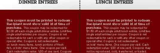 Red Lobster Discounts and Coupons 2013