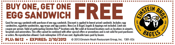 Einstein Bros 2013 Coupons
